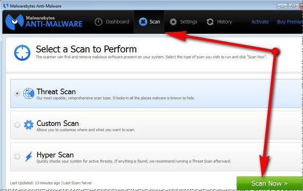 Malwarebytes Anti-Malware - сканирование системы