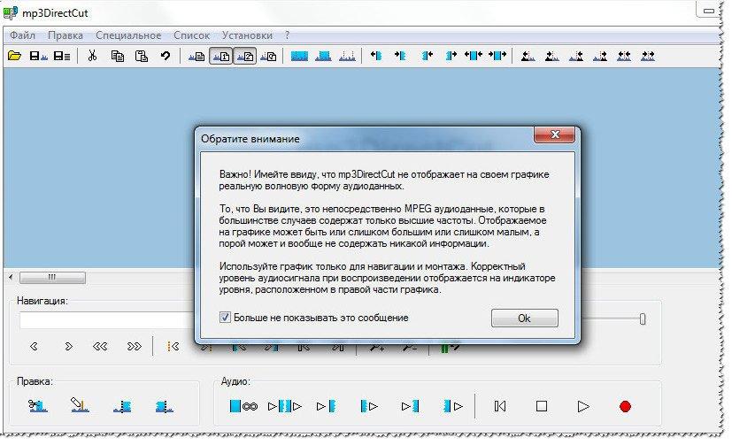 Mp3DirecCut - главное окно программы