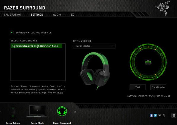 Окно настроек Razer Surround