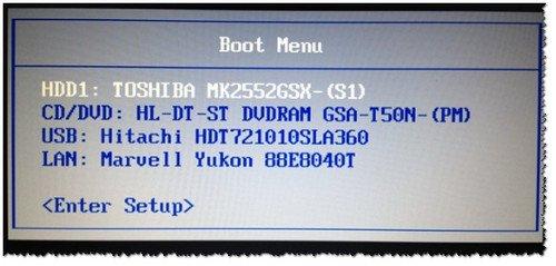 Рис. 3. Классическое Boot Menu (Ноутбук Toshiba)