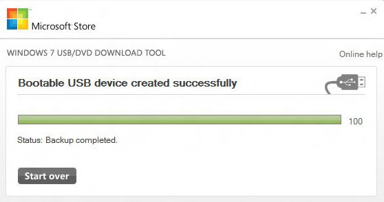 Процесс записи USB флешки / запись завершена успешно