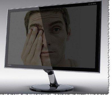 Пример разной освещенности поверхность экрана.