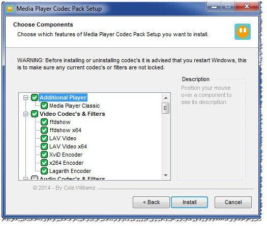 Список кодеков Media Player Codec Pack
