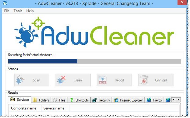 AdwCleaner - процесс сканирования системы.