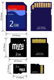 SD, miniSD, MicroSD карты