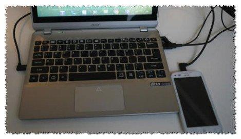 Телефон подключен к ноутбуку
