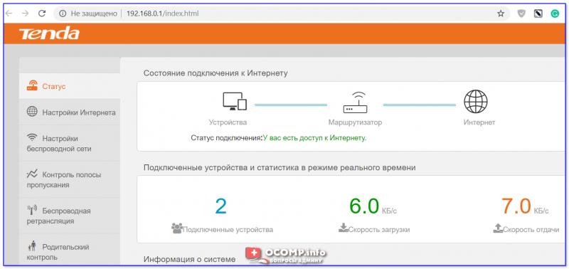 Веб-интерфейс роутера Tenda (192.168.1.1)