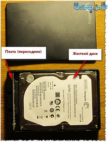 Внешний жесткий диск - вид изнутри