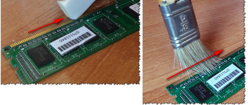 Чистка контактов памяти резинкой и кисточкой