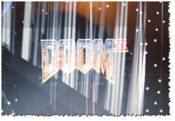 Скриншот из игры Doom 3: обратите внимание на белые точки — результат неудачного разгона