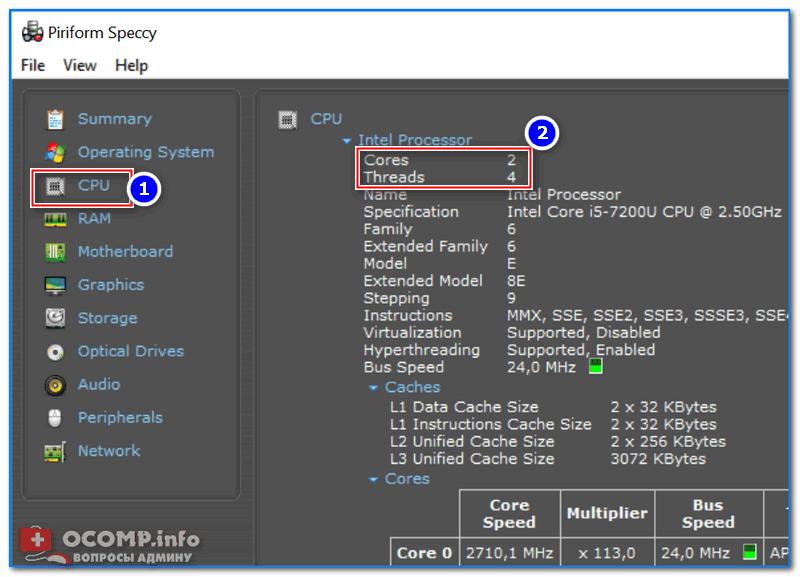 Speccy - вкладка CPU (процессор)
