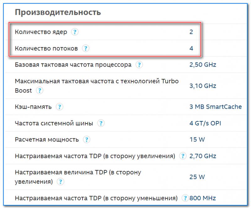 Спецификация с сайта Intel