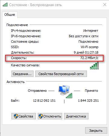 72.2 Мбит\с - скорость подключения