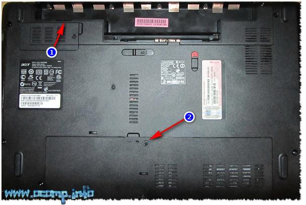 Типовой ноутбук. Защитная крышка, за ней жесткий диск и планки с памятью