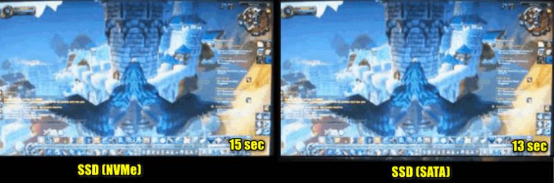 Скорость загрузки игры — 15 сек. против 13 сек. (SSD M2 NVMe и SSD SATA)