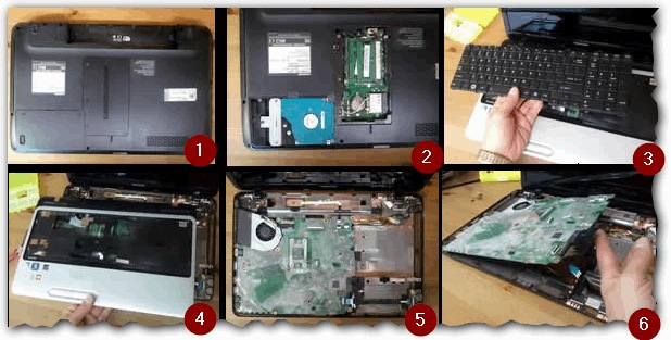 Разборка ноутбука, где нужно снять клавиатуру, прежде, чем доберешься до радиатора