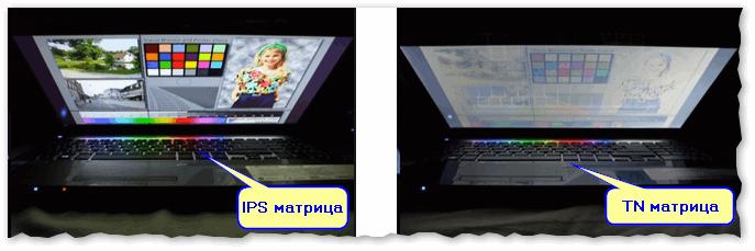 Вид снизу - IPS матрица против TN