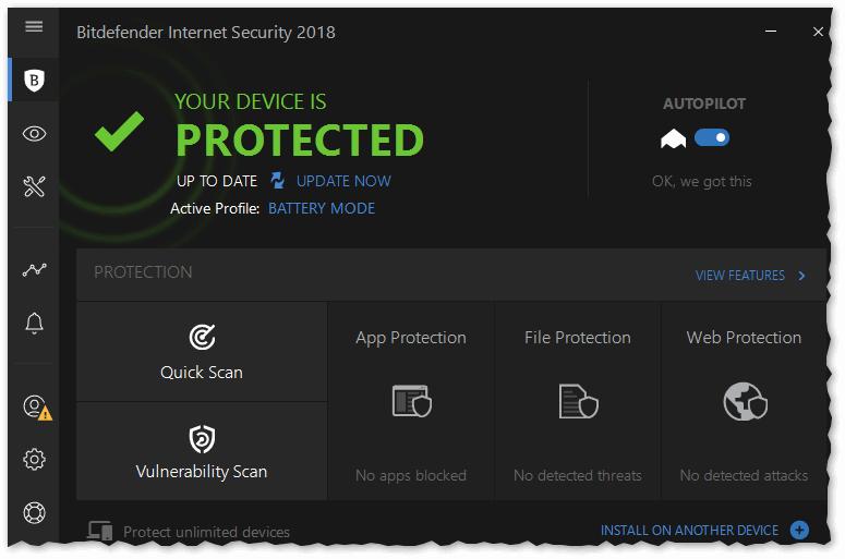 Bitdefender Internet Security 2018 - главное окно программы