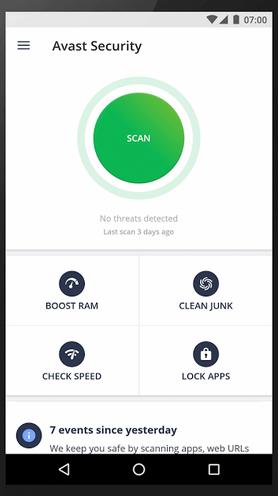 Avast Security - главное окно программы