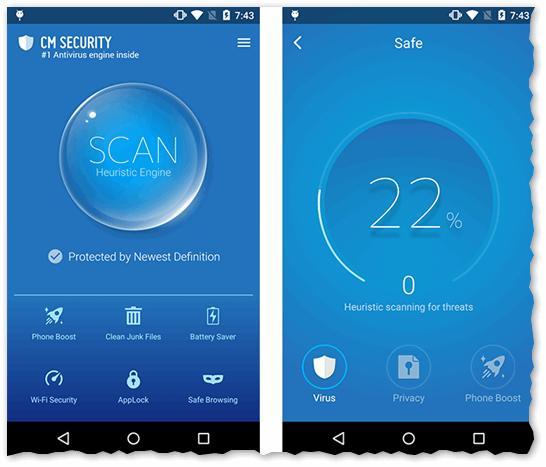 Cheetah Mobile Cheetah Mobile Security - Главное окно, и процесс сканирования и поиска угроз