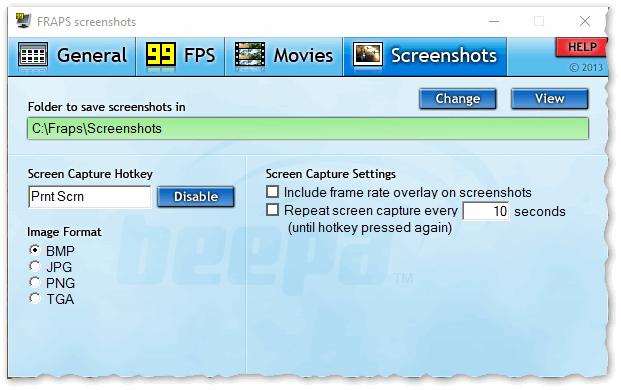Fraps - главное окно программы