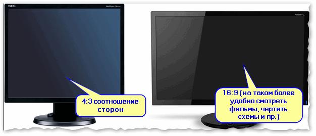 Пример на двух мониторах: 4:3 и 16:9 соотношения сторон