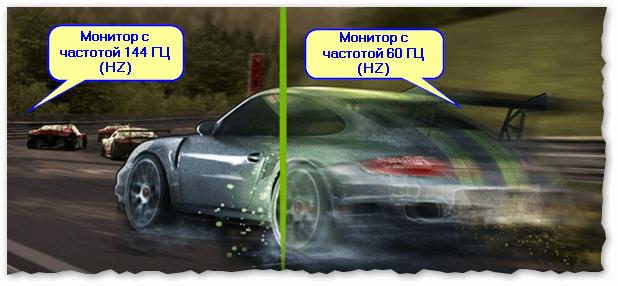 Частота обновления экрана - на примере двух экранов 144 ГЦ и 60 ГЦ