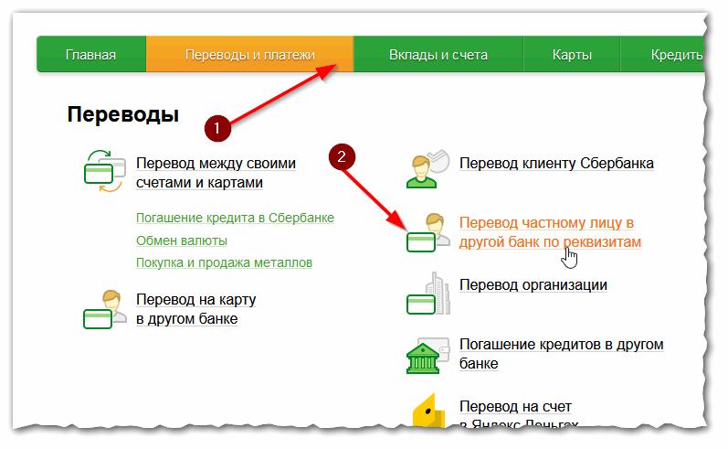 Сбербанк Онлайн - межбанковский перевод