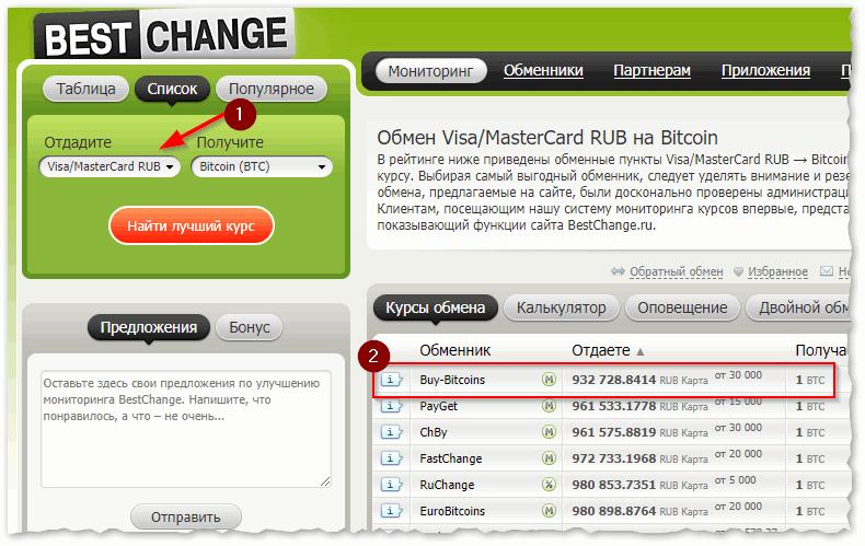 Перевод с карты Visa MasterCard RUB на Bitcoin (BTC) – где выгоднее обменять