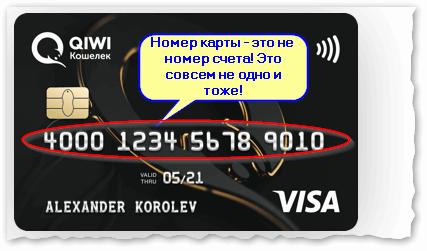 Банковская карта QIWI (пример номера счета)