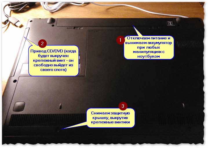 Как вынуть CD привод из ноутбука