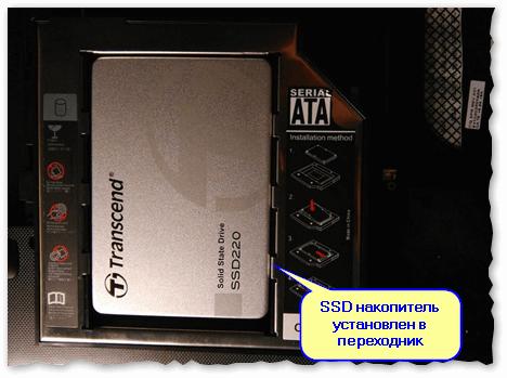 SSD накопитель установлен в переходник и зафиксирован винтами