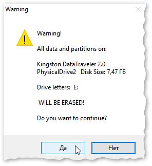 Предупреждение (об удалении всех данных с флеш-накопителя)