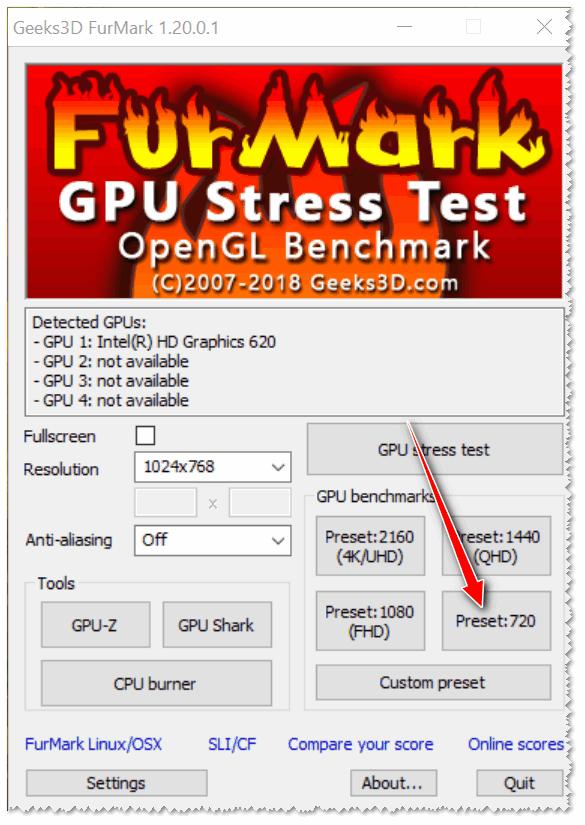 FurMark - тест с preset 720