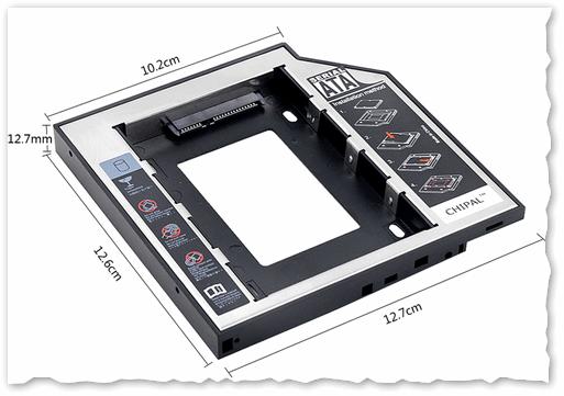 Универсальный переходник для установки второго диска в ноутбук вместо привода компакт дисков (2nd HDD Caddy 12.7 мм 2.5 SATA 3.0)