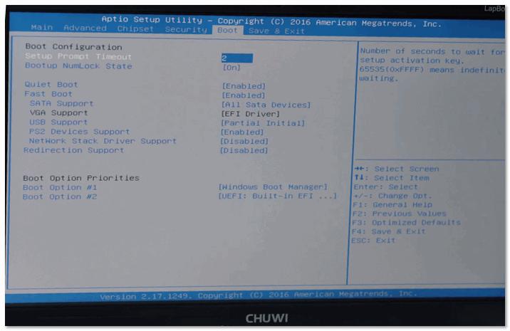 BIOS ноутбука CHUWI
