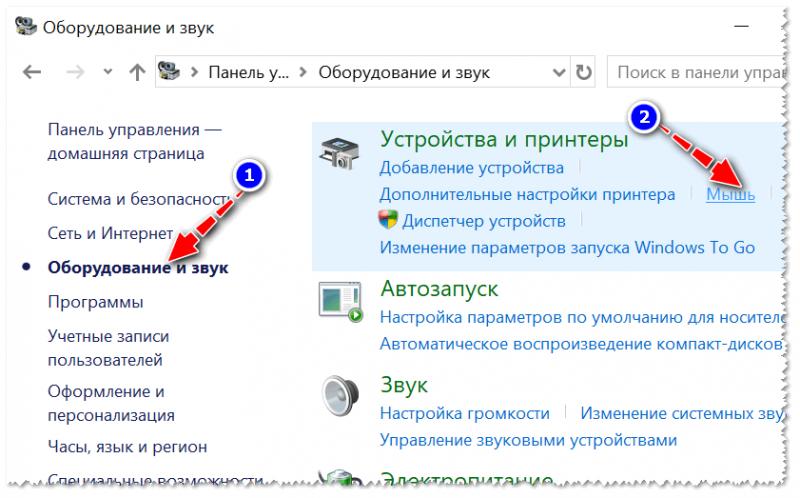 Открываем свойства мышки / Панель управления Windows