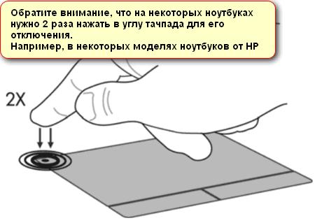 Предупреждение об альтернативной кнопке отключения тачпада