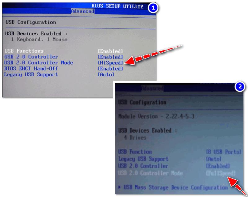 Примера настроек контроллера USB в BIOS