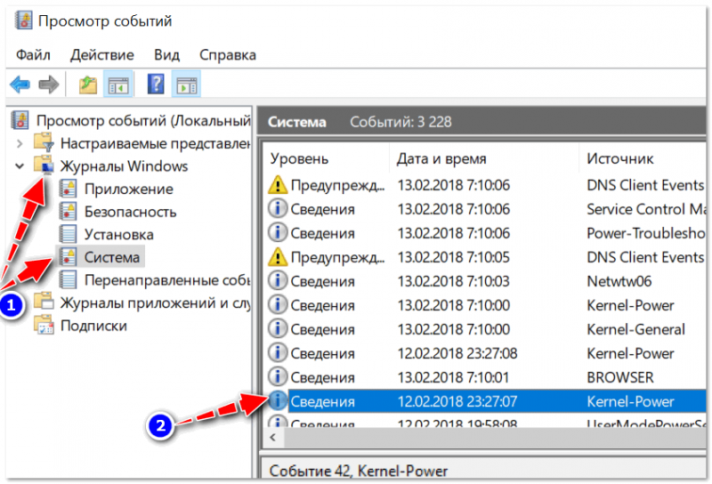 Сведения о системе из журнала Windows