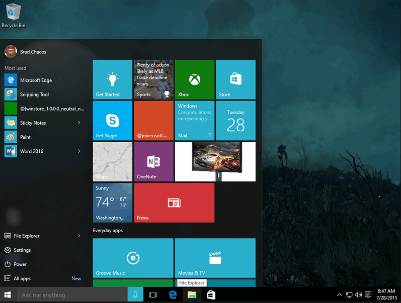 Windows 10 - рабочий стол