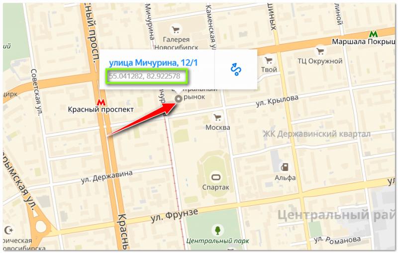 Яндекс определил координаты точки