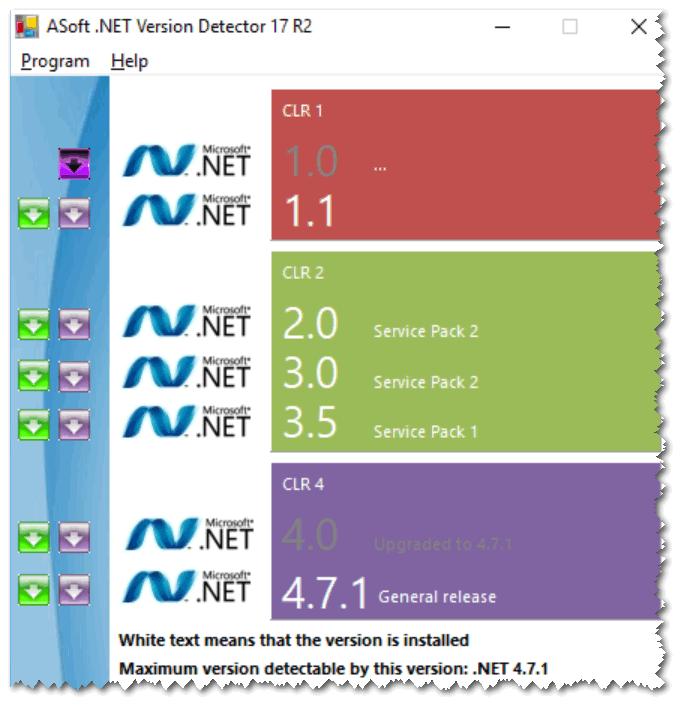 NET Version Detector - смотрим доступные версии NET Framework
