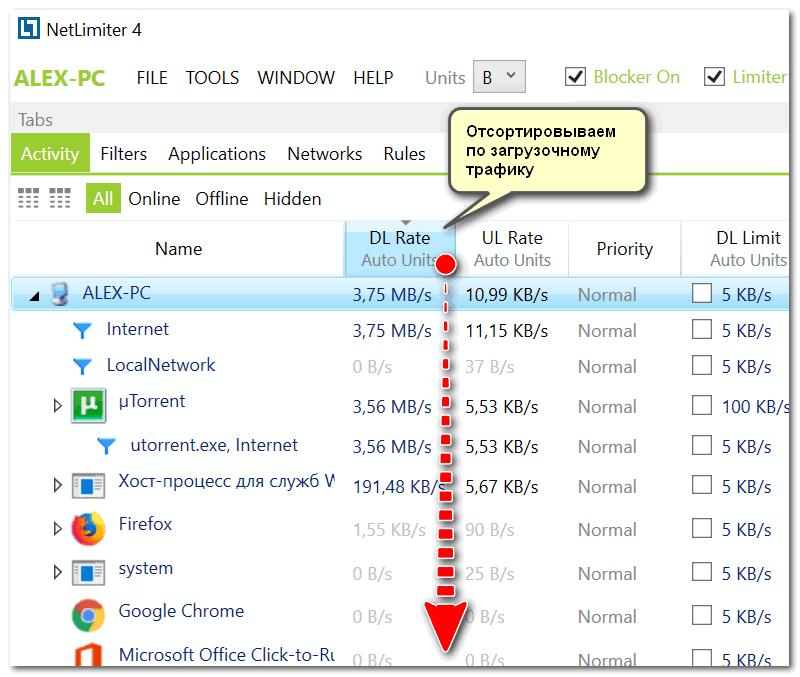 NetLimiter - отсортировавшем по загрузочному трафику