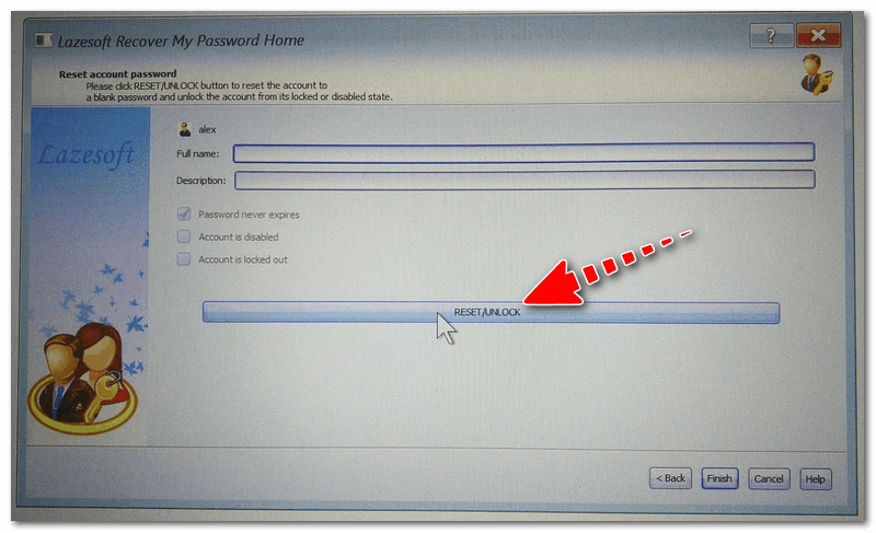 Reset/Unlock - жмем кнопку (приложение Lazesoft Recover My Password)