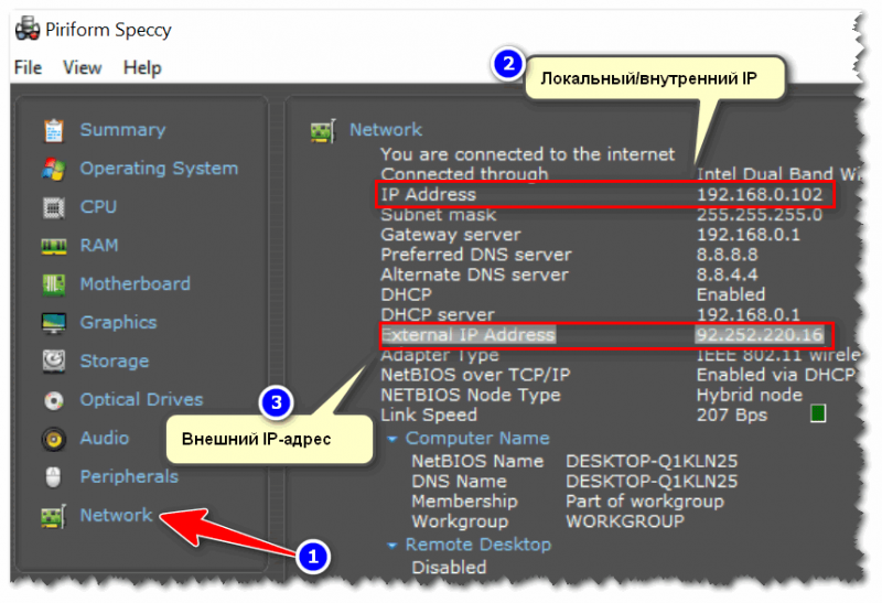 Specy - просмотр IP-адресов, раздел Network