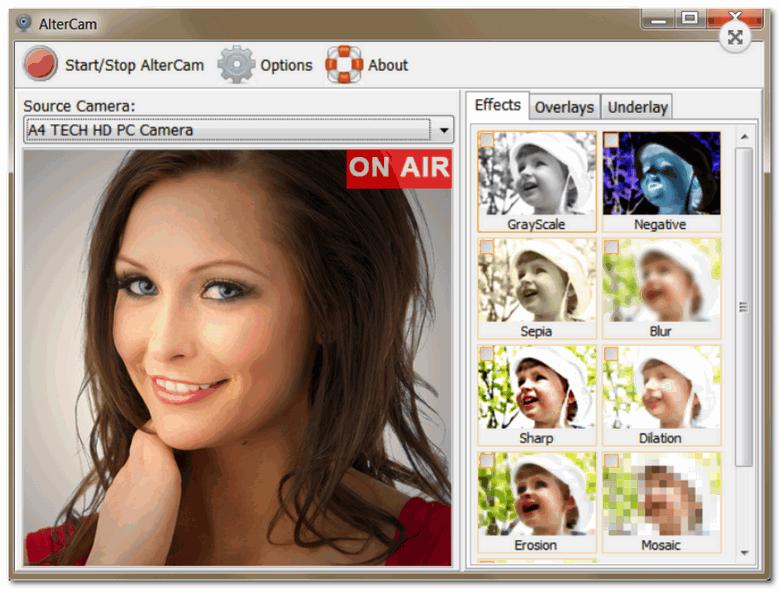 AlterCam - главное окно программы