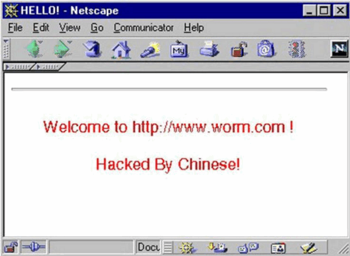 Браузер Netscape - сообщение о Code Red