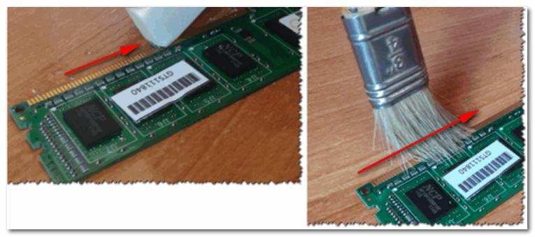 Чистка контактов у планок памяти