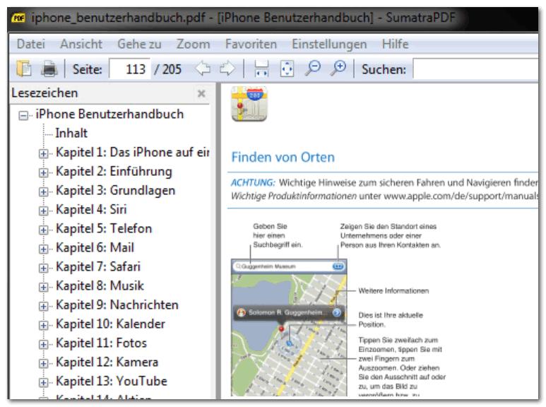 Чтение руководства по эксплуатации в Sumatra PDF